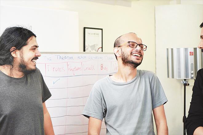 (Left) Zain Peerzada (social media, content creator and video editor) and Daniel Arthur Panjwaneey, audio engineer at Aleph.
