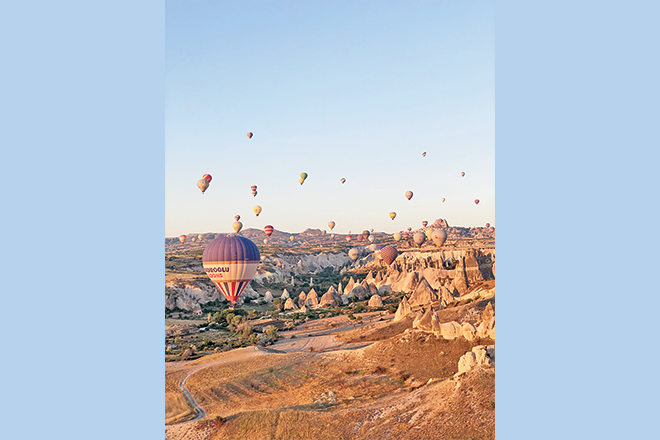 The daily scenes from a Hot Air Balloon ride around 7am in Cappadocia.