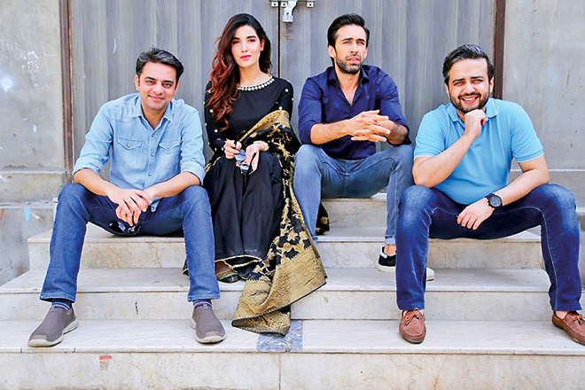 Hareem Farooq with co star Ali Rehman Khan and director-producer duo Azfar Jafri and Imran Raza Kazmi during the promotion of Heer Maan Ja in Pakistan.