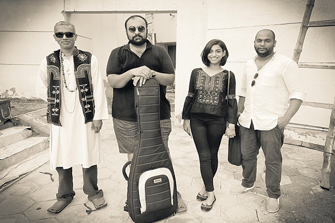 Surkhwaab features Zishan Mansoor on guitars, Mishal Fatima on vocals, Jasir Abro on bass and Ajay Harry on drums. Photo by Minah Jasir Abro