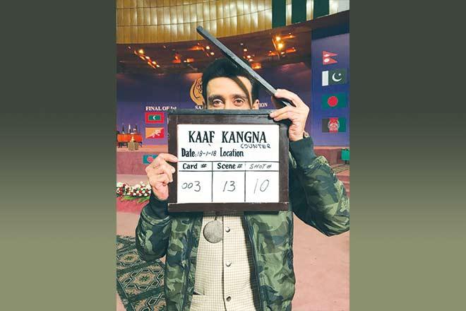 Sami Khan during the shoot of Kaaf Kangana that is releasing next month.