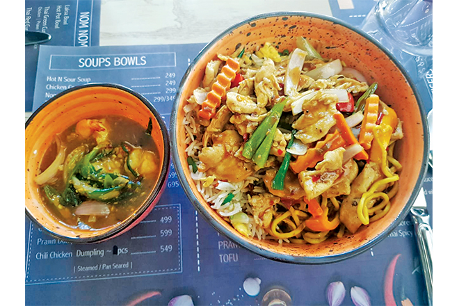 Pan Asian Chicken with Chow Mein, Fried Rice and an add-on of Thai style prawns.