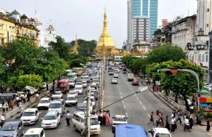 A view of Yangon from a pedestrian bridge.