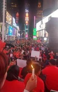 Candlelight vigil for Kashmir at Times Square.