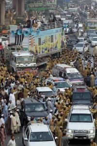 Azaadi March at Lahore. --Photos by Rahat Dar