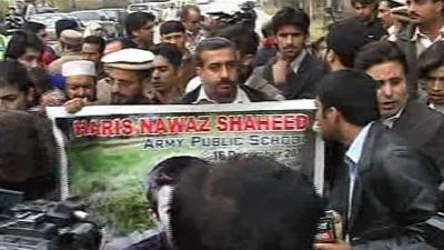 Chelum of APS martyrs observed, parents protest outside CM House