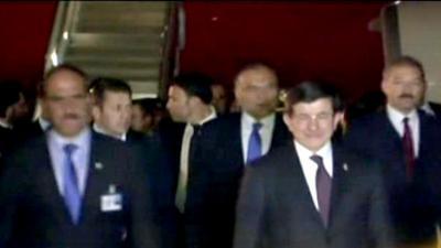 Turkish PM Ahmet Davutoglu arrives in Islamabad
