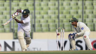 Bangladesh 107-5 in reply to Pakistan's 557-8