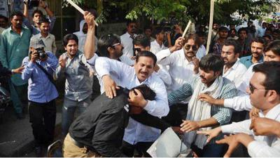 Violent protests after clash with police kills two lawyers in Sialkot