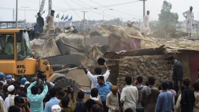 Protest erupts as CDA bulldozes illegal Islamabad slum-houses
