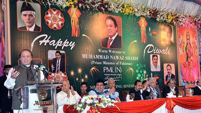 Religious harmony: PM Nawaz attends Diwali ceremony in Karachi