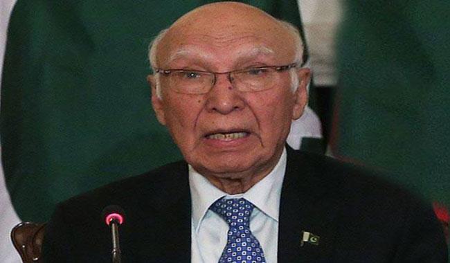 Pakistan fully supports Afghan Reconciliation process: Sartaj Aziz
