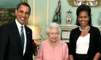 Britain´s Queen Elizabeth features with Obamas in light-hearted charity video