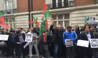 PTI activists protest outside Hasan Nawaz's flat in London