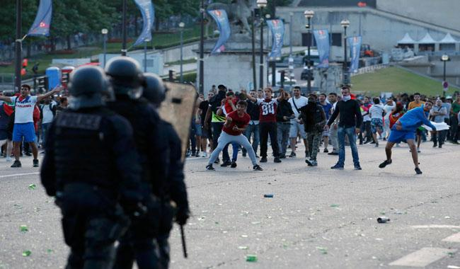Clashes outside Eiffel Tower fan zone during Euro 2016 final