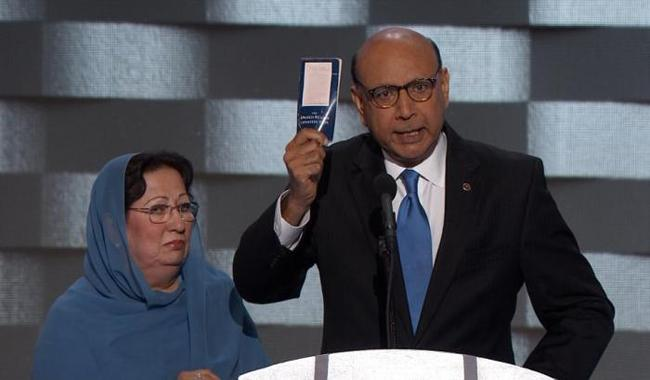 Pakistan origin father of deceased soldier appeal for vote for Clinton