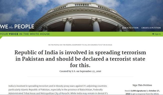 India be declared terrorist state, demands White House petition