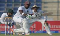 West Indies crumble after Misbah´s near miss