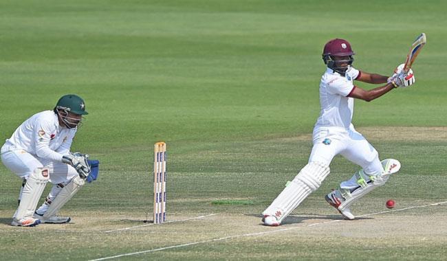 Brathwaite hits fifty after West Indies set 456