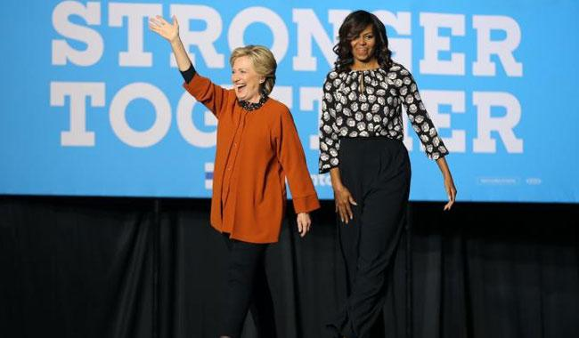 Clinton, Michelle Obama make first joint campaign appearance in bid for women's support