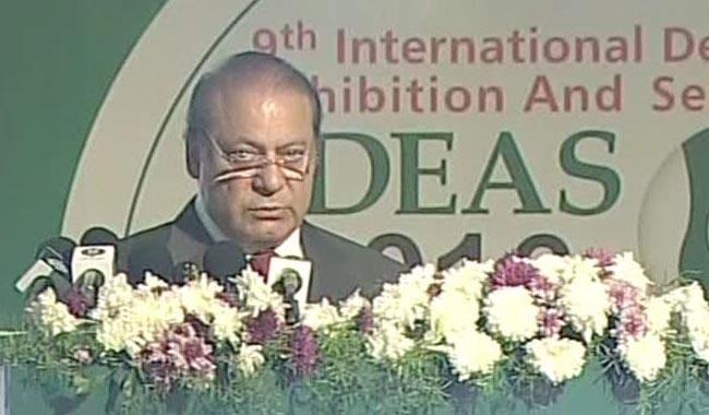 Nawaz says Pakistan against arms race