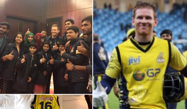 PSL 2017: Eoin Morgan donates Zalmi kit to Shaukat Khanum
