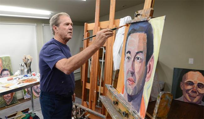George W. Bush exhibits his portraits of US war veterans