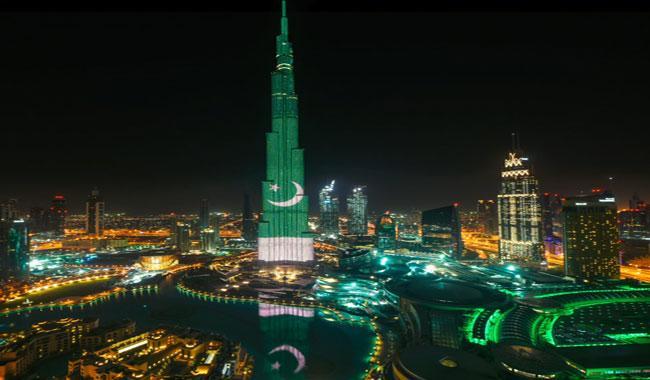 Burj Al Khalifa lights up with Pakistan flag