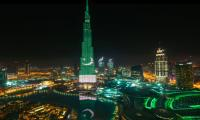 Burj Al Khalifa lights up with Pakistan flag