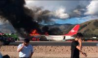 Plane catches fire in Peru, no serious injuries reported