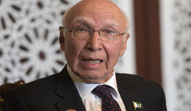 Indian proposal for bilateral talks on Kashmir no longer credible: Sartaj Aziz