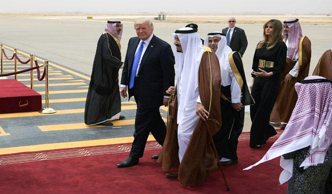 U.S. President Trump arrives in Saudi Arabia