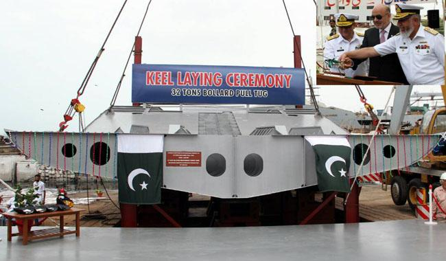 Another step towards self reliance: Keel laying ceremony of Pak Navy's 32 tons tug held
