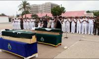 Funeral prayers of Pak Navy martyrs offered at Karachi