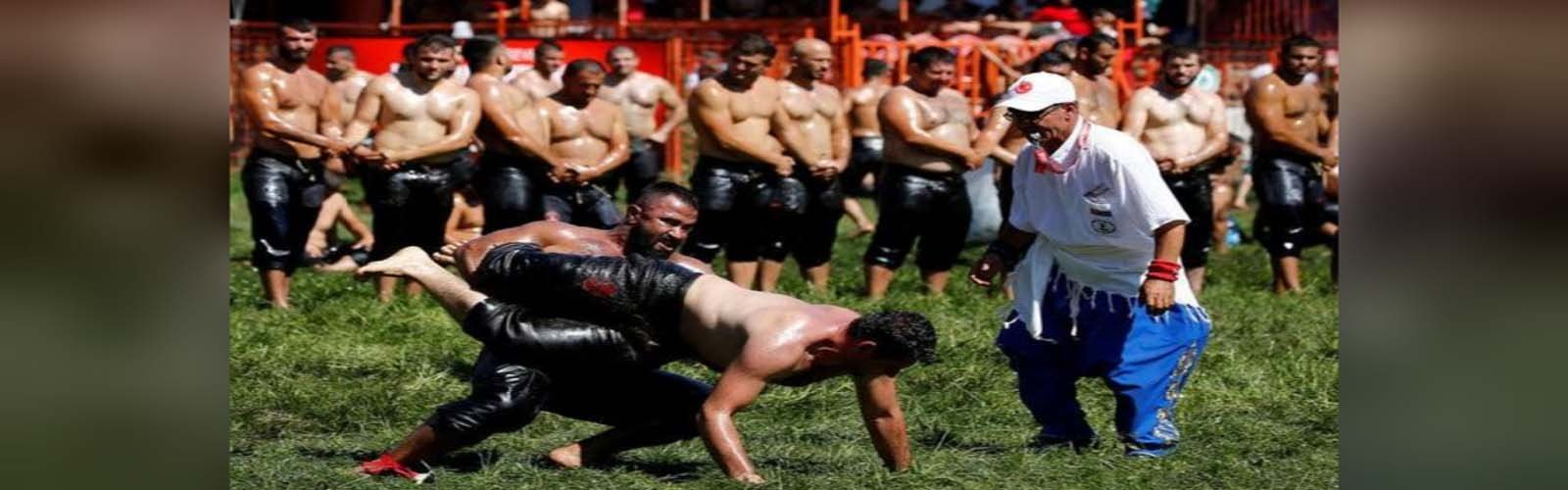 Turkish oil wrestlers grapple to win 600-year-old title