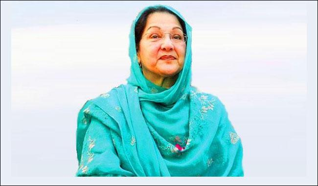 Kulsoom Nawaz submits nomination papers for NA-120 by-polls