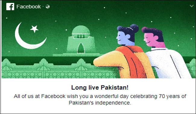 'Long Live Pakistan', Facebook extends wishes on 70th Independence Day