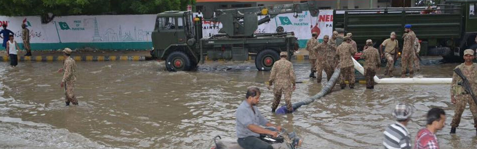 Army, Rangers busy clearing rain affected areas in Karachi