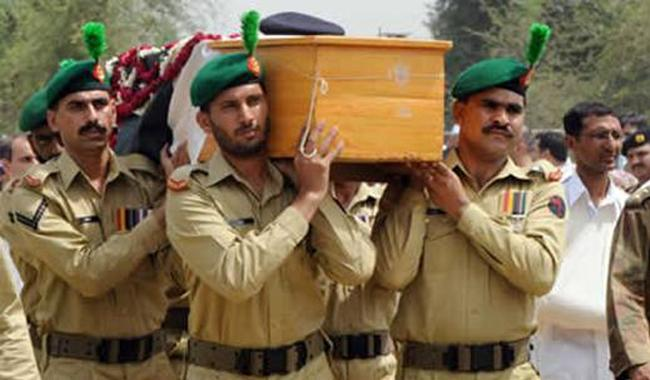 Funeral prayers for Shaheed  Lt Col Amir Waheed offered in Lahore