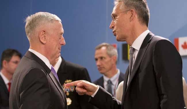 US Defense Secretary Mattis and North Atlantic Treaty Organisation chief Stoltenberg in Kabul