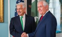 Meeting with Tillerson 'positive', US secretary to visit Pak this month: Kh Asif