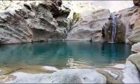 A beautiful lake under 'finger print mountain' in Kunraj, Lasbela