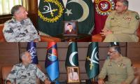 Newly appointed Naval Chief Admiral Abbasi meets Army Chief, CJCSC