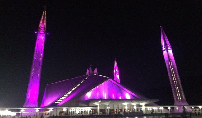Faisal mosque goes pink as Pink Ribbon marks breast cancer awareness campaign