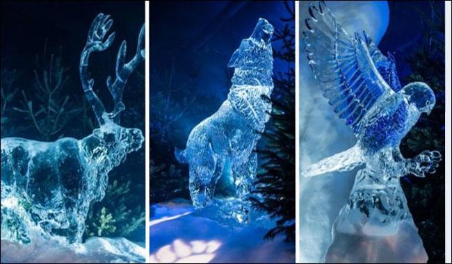 Scotland prepares ice sculptures ahead of winter Christmas celebration