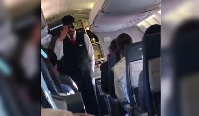 Flight safety briefing with Eminem-style rap