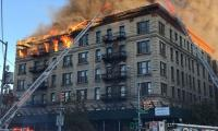 Fire engulfs apartment in New York