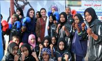 Aseefa meets young female boxers of Lyari
