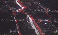 Aerial footage shows long queues of vehicles ahead of Thanksgiving holiday