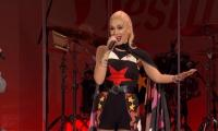 Gwen Stefani switches on Christmas lights in London mall